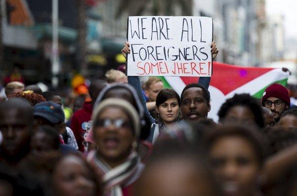 Manifestación contra la xenofobia en Sudáfrica