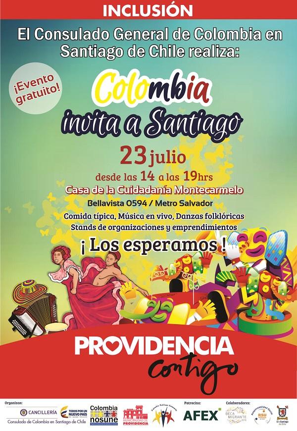 Colombia invita a Santiago Fiesta Patria
