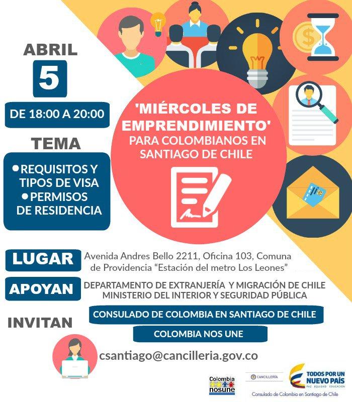 Miércoles de emprendimiento para colombianos en Santiago de Chile