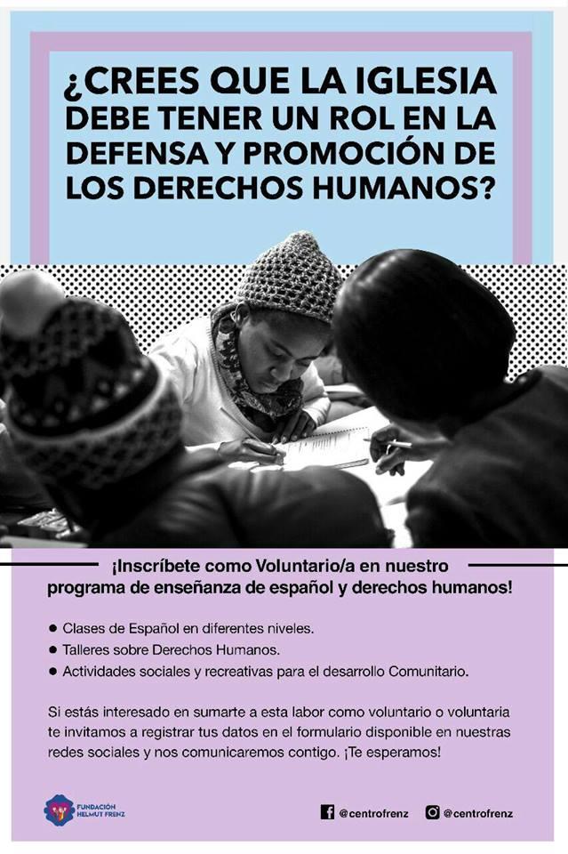 Fundación Helmut Frenz abre convocatoria para voluntarios en el programa de Enseñanza de Español y Derechos Humanos para personas migrantes